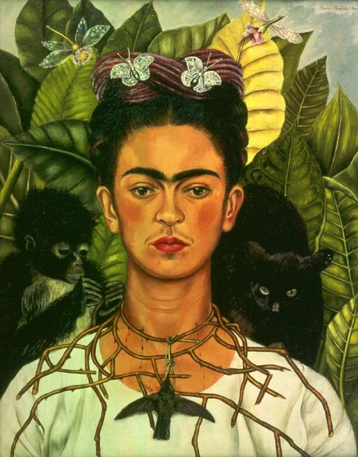 Frida Kahlo Self-portrait with Thorn Necklace and Hummingbird (1940)