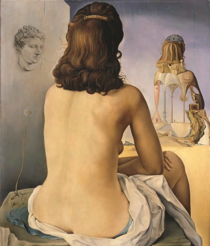 Salvador Dali My Wife, Naked Looking at her own Body, which is Transformed into Steps, Three Vertebrae of a Column, Sky and Architecture (1945)